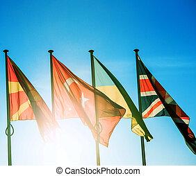 Ucrania, reino, unido,  Macedonia, banderas, pavo