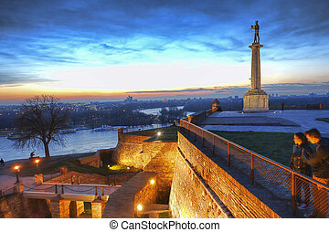 Statue of Victory with a monument in capital city Belgrade,...
