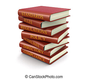 Stack of compliance and rules books. Image with clipping...