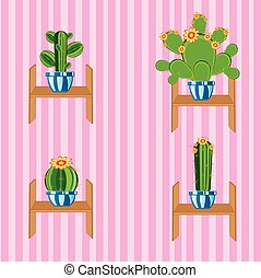 Cactuses on regiment - Wall with wallpaper and cactus on...