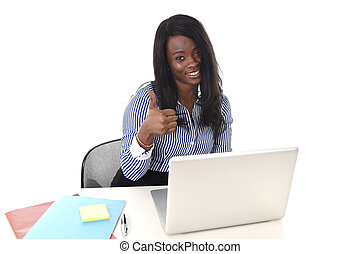 black african american ethnicity woman working at computer...