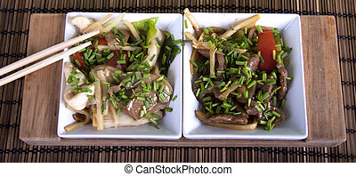 Chinese chicken, beef and vegetable dish - Chinese cusine...