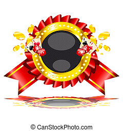 Vector illustration of casino cards, dice and gold coins.
