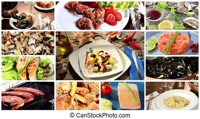 a collage of different food dishes - seafood dishes collage
