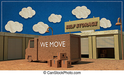 self storage units made with cardboard boxes