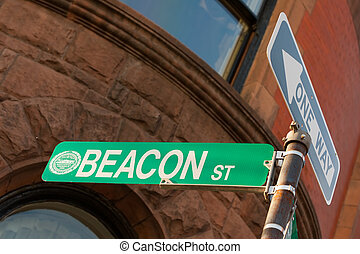 Beacon street sign in famous Boston neighborhood