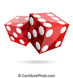 two red dice cubes on white background