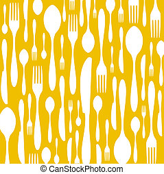 Cutlery pattern on yellow background - Spoon, knife and fork...