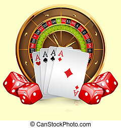Illustration of casino roulette wheel with cards and dice....