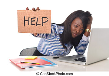 black African American ethnicity frustrated woman working in...