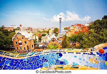 parque, Guell, en, Barcelona,