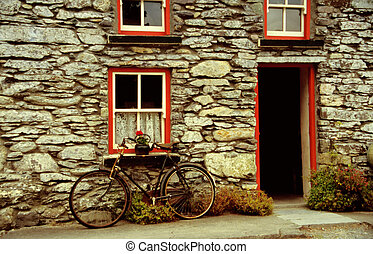 Old house with bicycle, bike
