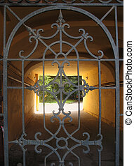 vista, padrões, Ornate, portão