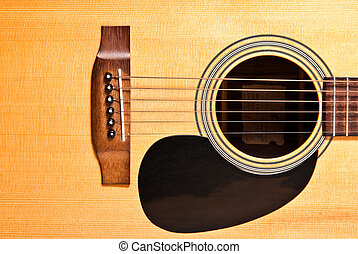 Acoustic guitar close-up on white background