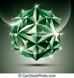 3D green shiny ball. Vector fractal