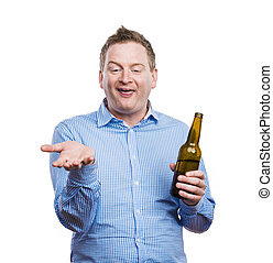 Drunk young man - Funny young drunk man holding a beer...