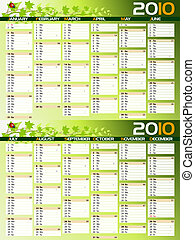 2010 green planning calendar with copy space