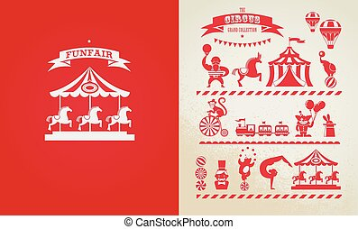 vintage poster with carnival, fun fair, circus vector...