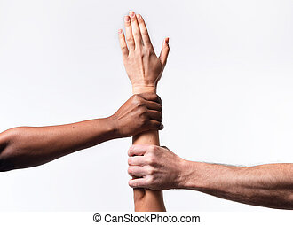 black African American and Caucasian hands holding white...
