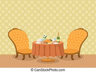 Restaurant with dishes on table - Restaurant background with...
