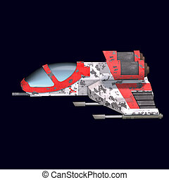 sci fi spaceship in universe - 3D rendering of a sci fi...