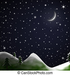 Christmas Scene - Starry Snowy Night - Illustration of a...