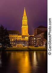 Night view of Kiel city hall, Germany