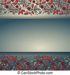 barberry border, hand-drawn berry pattern