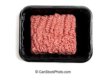 Ground hamburger meat on a white background - Fresh ground...