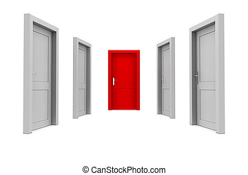 Choose the Red Door - abstract hallway with four gray doors...