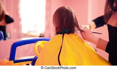 haircut in salon - stylist making haircut to a little boy in...