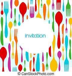 Padrão, cutelaria, coloridos, convite