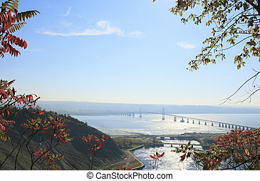 Bridge across a river, Saint Lawrence River, Quebec, Canada