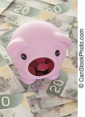 A piggy bank on dollars