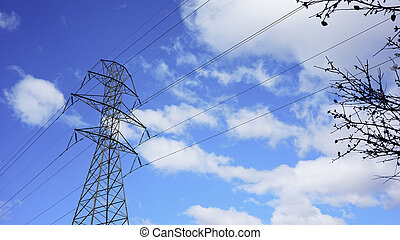 Power Lines with blue sky and clouds