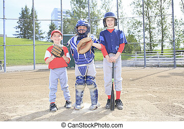 A baseball team of children play this sport