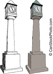 Old city clock - Vector illustration of Old city clock on...