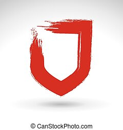 Brush drawing vector shield sign, - Brush drawing vector...