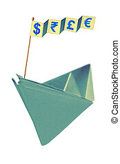 Origami paper boat with flag writing different currency...