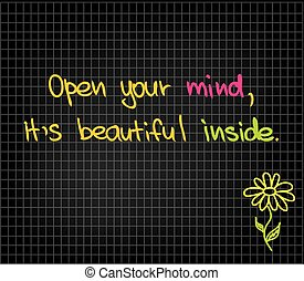 Open your mind - Sketch words for getting happiness and...