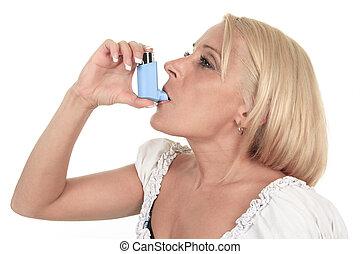 Un, asma, mujer, en, frente, de, Un, blanco, Plano de fondo,...