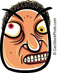 Wierd cartoon face, absolute crazy numskull portrait, vector...
