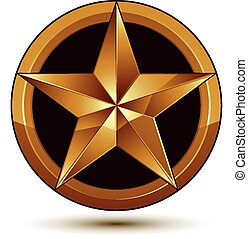 3d vector classic royal symbol, sophisticated golden star...
