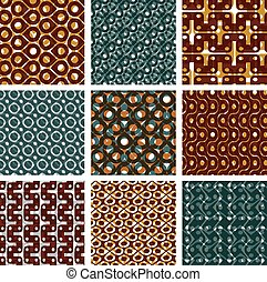 Set of seamless textures - Set of multicolored grate...