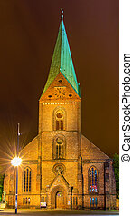 Night view of St Nikolai Church in Kiel, Germany