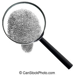 Magnifier and fingerprint isolated on white background - The...