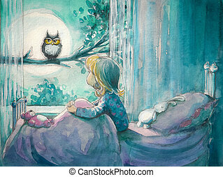 Girl and owl - Girl in her bed looking at owl on a...