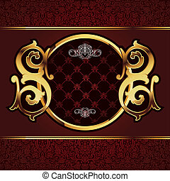 Vector decorative ornamental background with golden elements...