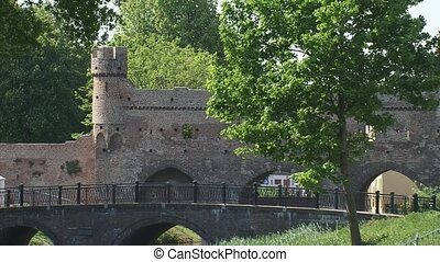 ancient city wall rampart - ZUTPHEN, THE NETHERLANDS - city...