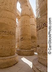 Columns in Precinct of Amun-Re Karnak Temple Complex, Luxor,...